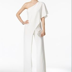 Adrianna Papell One-Shoulder Jumpsuit Ivory